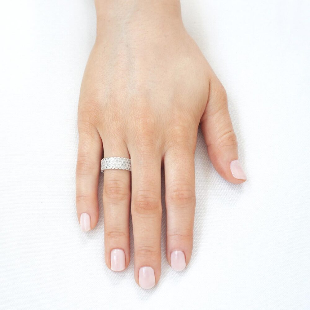 Halo Sparkling Ring Silver