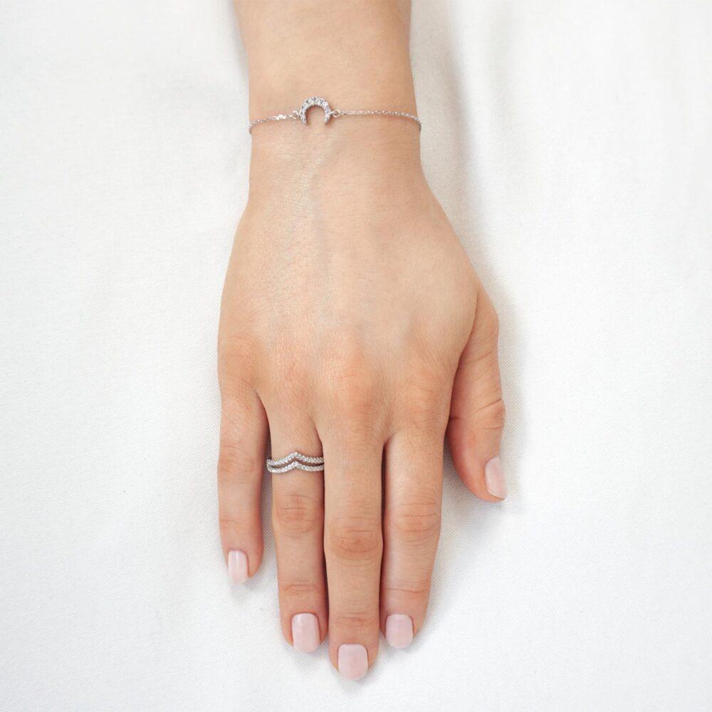 Moon Bracelet Silver Sparkling V Ring
