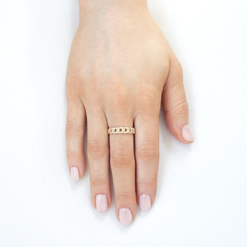 Sparkling Chain Ring Guld