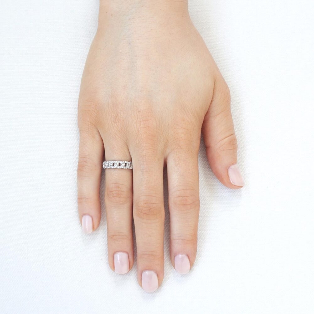 Sparkling Chain Ring Silver