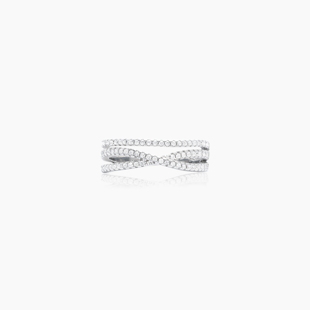 Crossed-Sparkling-Ring-Silver-Nesspah