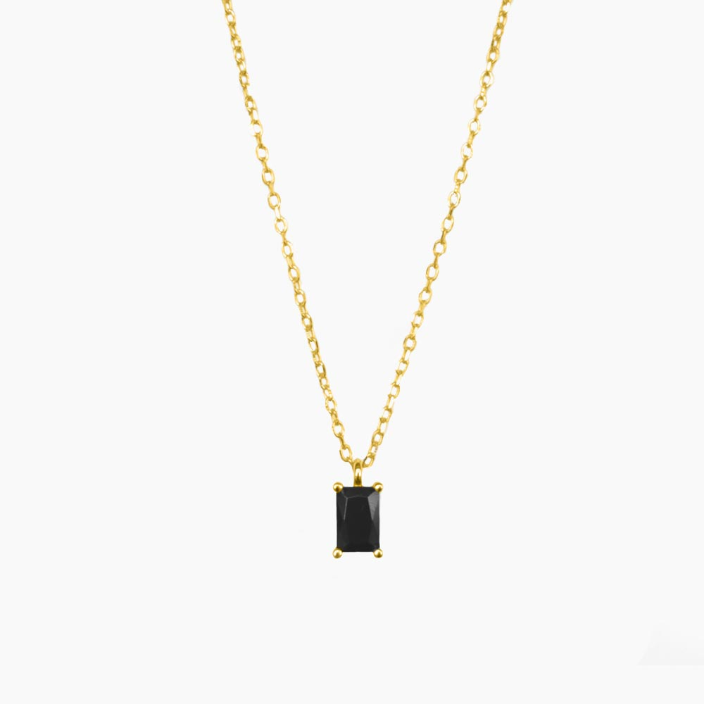 Amplified-Single-Stone-Necklace-Guld